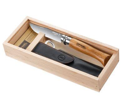 Нож Opinel 8 VRI дуб, кож.чехол, в пенале