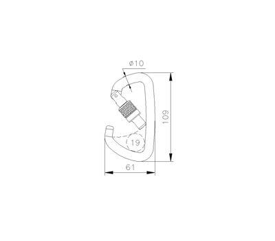 Карабин стальной 3C4760A трапеция key lock